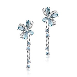 Kate's Striking Sweet Aqua Blue Cubic Zirconia Dangle Bow Floral Earrings Rhodium Plated in Box