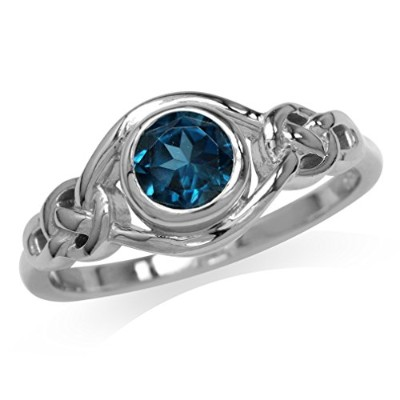 (7) - Genuine London Blue Topaz 925 Sterling Silver Celtic Knot Ring