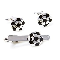 mrcuff Soccer Ball Cufflinks and Tie Barクリップwith aプレゼンテーションギフトボックス&ポリッシュクロス