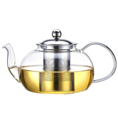 Zhhlaixing 高品質の Modern Heat Resistant Clear Glass Teapot , Stainless Steel Infuser