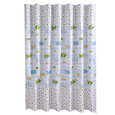 Zhhlaixing Waterproof Fish Printing Shower Curtain with Rings