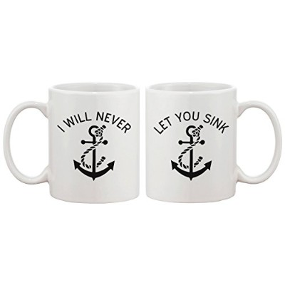 365 Printing Cute Anchor Matching Coffee Mugs for Best Friends - I Will Never Let You Sink...