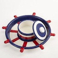 DII Captain Ship 's Wheel Chip and Dip Serving Set