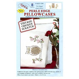High Quality Stamped Pillowcases with White Perle Edge, Chicken Scratch Owls, 2-Pack