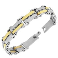 Stainless Steel Two-Tone Link Chain Mens Bracelet with Clasp