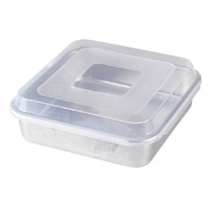 Nordic Ware Natural Aluminum Commercial Square Cake Pan with Lid, Exterior 9.88 x 9.88 Inches ...