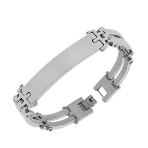 Stainless Steel Silver-Tone Name Tag Men's Link Chain Bracelet