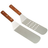 overstockedkitchen New Grill, Turner, Stainless Steel, Riveted Smooth Wood Handle, Commercial Grade...