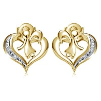 Vorra Heart Beautiful 14K Gold Plated 925 Sterling Silver Earring With Round Cut CZ Stud Earring