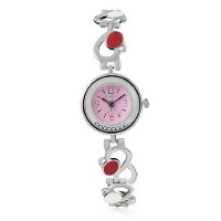Fashion Alloy Silver-Tone Pink Love Heart Round Dial Womens Bracelet Watch