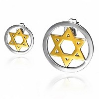Stainless Steel Two-Tone Classic Jewish Star of David Small Stud Earrings