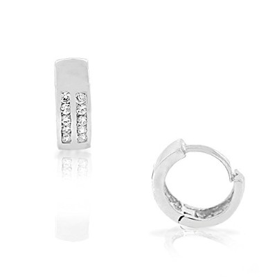 925 Sterling Silver White Clear CZ Hoop Huggie Small Girls Earrings 0.45""