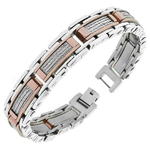 Stainless Steel Bronze-Tone Silver-Tone Twisted Cable Rope Classic Men's Link Bracelet