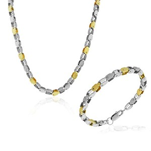 Stainless Steel Two-Tone Mens Bracelet Necklace Jewelry Set