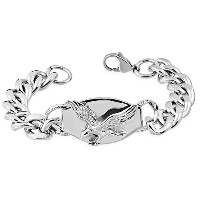 Stainless Steel Silver-Tone Eagle Bird Link Chain Mens Bracelet