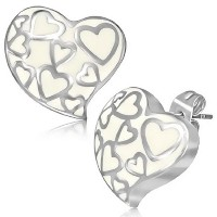 Stainless Steel White Silver-Tone Love Heart-Shaped Stud Earrings