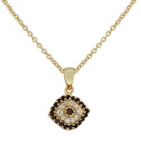 925 Sterling Silver Yellow Gold-Tone Evil Eye Black White Womens Pendant Necklace with Chain