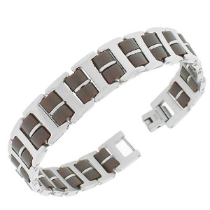 Stainless Steel Brown Silver-Tone Link Chain Men's Bracelet