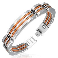 Stainless Steel Silver-Tone Orange Mens Classic Link Bracelet with Clasp