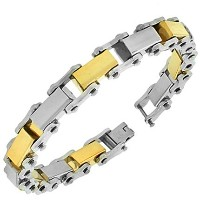 Stainless Steel Silver Yellow Gold Two-Tone Link Chain Mens Bracelet with Clasp