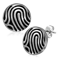 Stainless Steel Black Silver-Tone Round Classic Womens Girls Stud Earrings