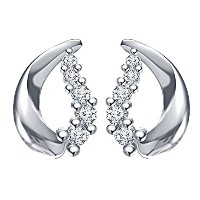 Vorra Fashion Beautiful Stud Earring 925 Sterling Silver Round Cut Cubic Zirconia For Women's