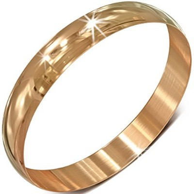 Stainless Steel Rose Gold-Tone Classic Round Bangle Bracelet