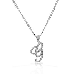 """925 Sterling Silver CZ Letter Initial """"G"""" Pendant Necklace - G"""