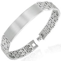 Stainless Steel Silver-Tone Name Tag Link Chain Bracelet