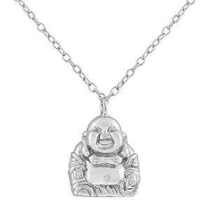 925 Sterling Silver Happy Smiling Buddha Pendant Necklace