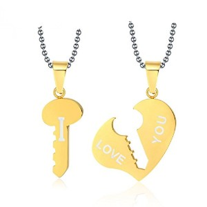 PF : Key and Heart Necklace Sets Couple His & Hers Promise Stainless Steel Jewelry