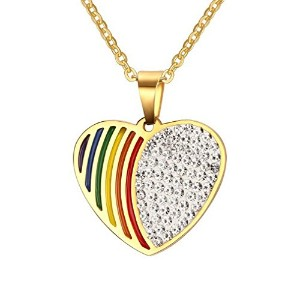 PF : Heart Rainbow Necklace Pendant for Women Trendy Crystal Gold Plated Stainless Steel