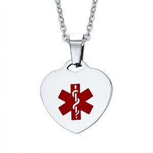 PF : Free Engraving Stainless Steel Heart-shape Medical Alert ID Tag Necklaces & Pendants