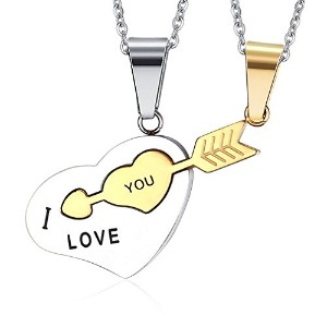 PF : Fashion Cupid Heart and Arrow Couples Necklace Pendant Stainless Steel Metal Promist Jewelry