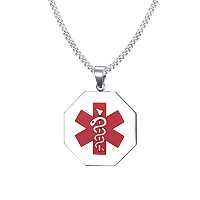 """PF : """"Free Engraving Men's Medical Necklace Stainless Steel ID Necklaces Free Chain 24"""""""""""""""