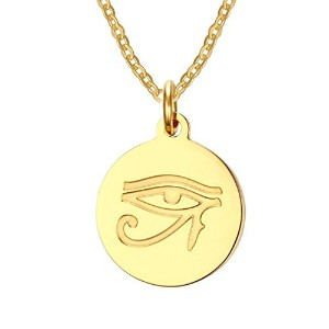 """PF : """"The Eye of Horus Necklace Gold Plated Stainless Steel Necklaces & Pendants Free 20"""""""" Chain"""""""