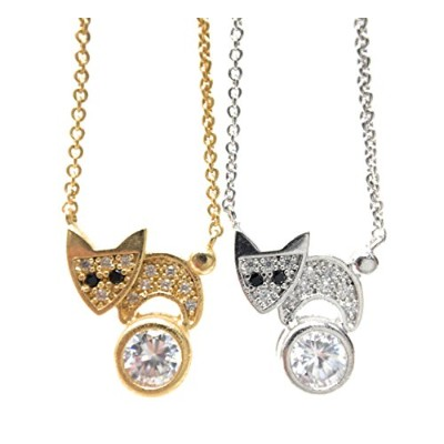 CZ 狐 チェーン クリップ ネックレス (CZ Fox Chain Clip Necklace)
