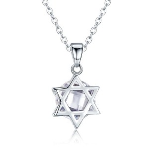 BISAER Sterling Silver Hexagram Necklace For Women 六芒星ネックレス ダビデの星ペンダント ヘキサグラム ホワイトゴールド メッキ...