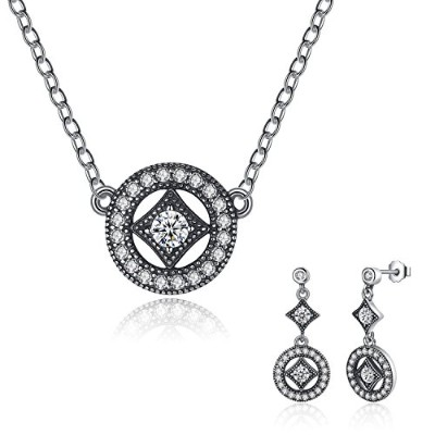 BISAER 925 Silver Necklace and Earring Set for Women 華奢 レディースファッション ネックレス ピアス セット シルバー925