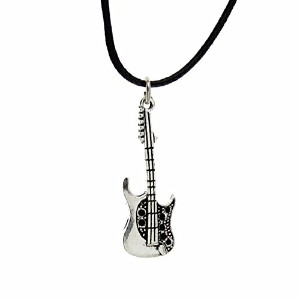 Stainless Steel Gold Guitar Unisex Pendant Necklace
