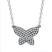 BISAER Flying Butterfly Sterling Silver Necklace 蝶ネックレス バタフライペンダント 925純銀製 ジルコニア 首飾り