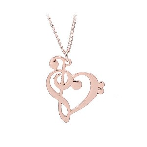 Rose Gold Music Notes Heart Pendant Necklace for Women