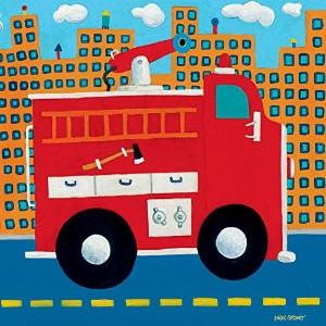 Oopsy daisy fire truck stretched canvas wall art by max grover, 10 by 10-inch by Oopsy Daisy