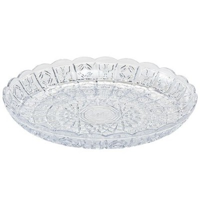 Party Dimensions Crystal Cut Plastic Tray, 11-Inch, Clear by Party Dimensions