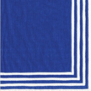 Entertaining with Caspari Stripe Border Paper Luncheon Napkins, Blue by Caspari