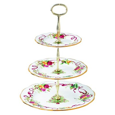 Old Country Roses Christmas Tree 3-Tier Cake Stand by Royal Albert