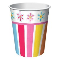 Creative Converting Pink Flower Cheer 8 Count Paper Cups, 9-Ounce by Creative Converting