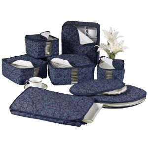 Homewear 8-Piece HUDSON DAMASK China Storage Container Set, Navy by Homewear [並行輸入品]