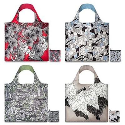 LOQI Pen Art Collection Pouch, Set of 4 Reusable Bags by LOQI