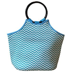 Be...Just Be Neoprene, Insulated Lunch Tote (aqua and white chevron) by Just 1